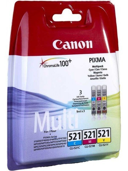 Canon CLI-521 C-M-Y Value Pack Μελάνια 2934B010