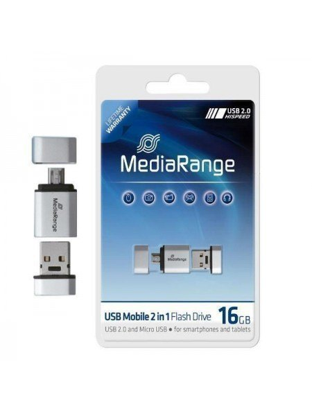 Media Range USB 16GB OTG 2 in 1 Λευκό
