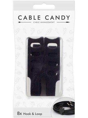 Cable Candy CC005 Υφασμάτινη Θηλιά Μαύρο 8 Τεμάχια