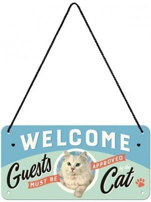 Nostalgic Μεταλλική Κρεμαστή Ταμπέλα 10/20cm - Welcome Guests Cat