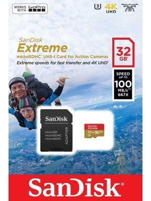 SanDisk Extreme microSD 32GB Action Cam 100MB/s + SD Adapter