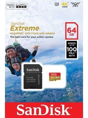 SanDisk Extreme microSD 64GB Action Cam 100MB/s + SD Adapter