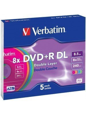 Verbatim DVD+R Dual Layer 8.5GB Color Slim Case 5 Τεμάχια