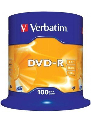 Verbatim DVD-R 120' 4.7GB 16x Cake Box 100 Τεμάχια