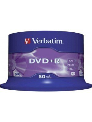 Verbatim DVD+R 4.7GB AZO 16x Matt Silver Surface Cake Box 50 Τεμάχια