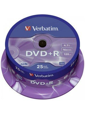 Verbatim DVD+R AZO 4.7GB 120 Λεπτά 16x Matt Silver Surface Cake Box 25 Τεμάχια