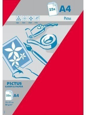Pictus A4 Χαρτί Κόκκινο 80gr 25 Τεμ.