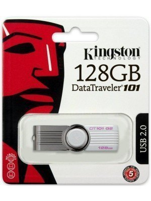 Kingston DataTraveler 101 G2 128GB USB 2.0 Flash Drive Λευκό KINDT101G2128