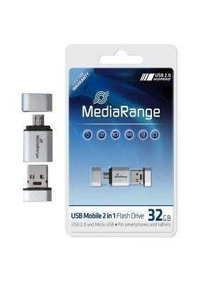 Media Range USB 32GB OTG 2 in 1 Λευκό